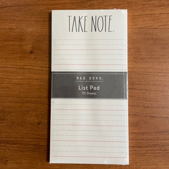 Rae Dunn Take Note List Pad 70 Sheets with Lines